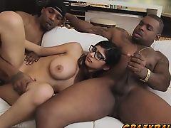 Horny hottie chick Mia Khalifa fondles her large phallus