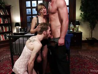 crossdressing whore boy is made to oral sex immense ramrod