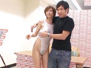 japanese av idol jacks off fan at photoshoot