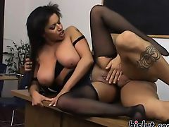 Busty teacher rides her student heavy shaft