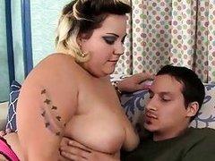Glamorous BBW Jade Rose fucks her young boyfriend