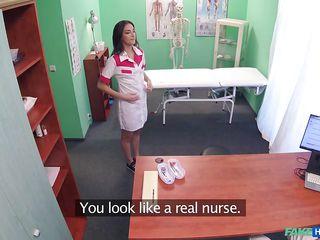 naughty nurse sucks on the doctor's knob