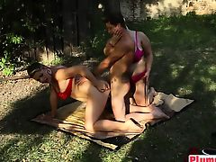 Double horny BBW have sex sandwich threesome with adolescent man