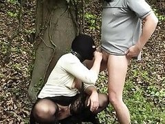 Masked slave wife punished and creampied outdoors