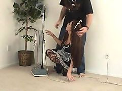 Brunette maid gets hogtied and left for whatever he wants