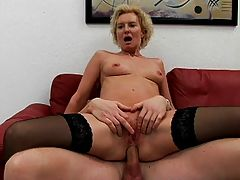 Mature cougar cock fucked to orgasm