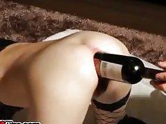 Huge anal bottle fuck