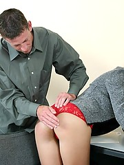 Kelly has her ass spanked raw by her new boss