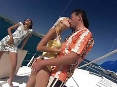 Great Threesome on a Yacht with Boroka Balls and Sahara Knite