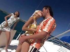 Great Threesome on a Yacht with Boroka Balls and Sahara Knite