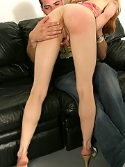 Red assed hottie is spanked into submission