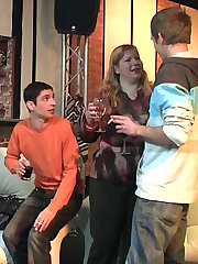 At the bar the drunken fat chicks strip, suck, and get fucked by the slender young guys