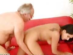 Stunning Latina Babe Fucking a Lucky Old Fart's Cock